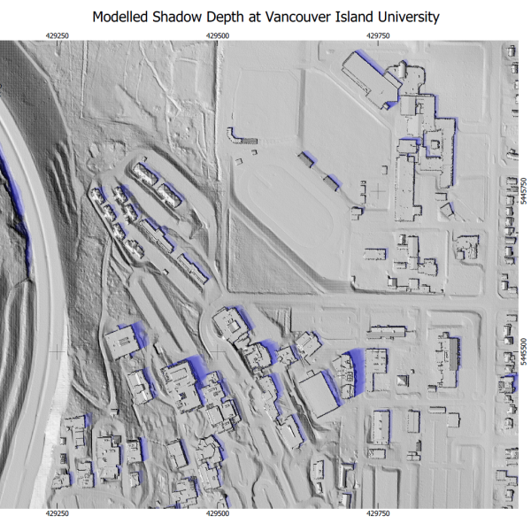 Lindsay Richards map of modelled shadow depth at vancouver island university