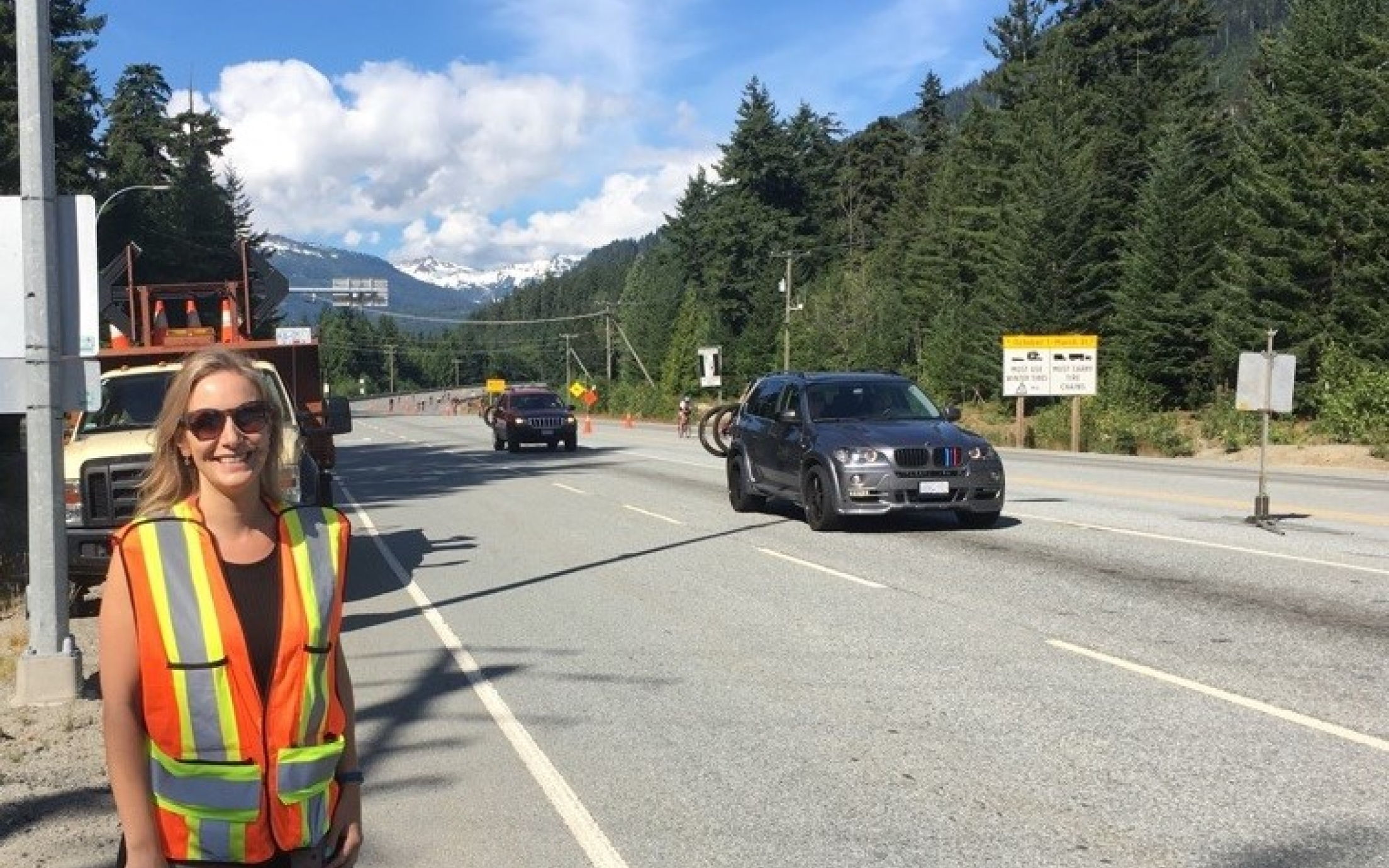 Amy Barker near Whistler - working during a road cycling event (Ironman).