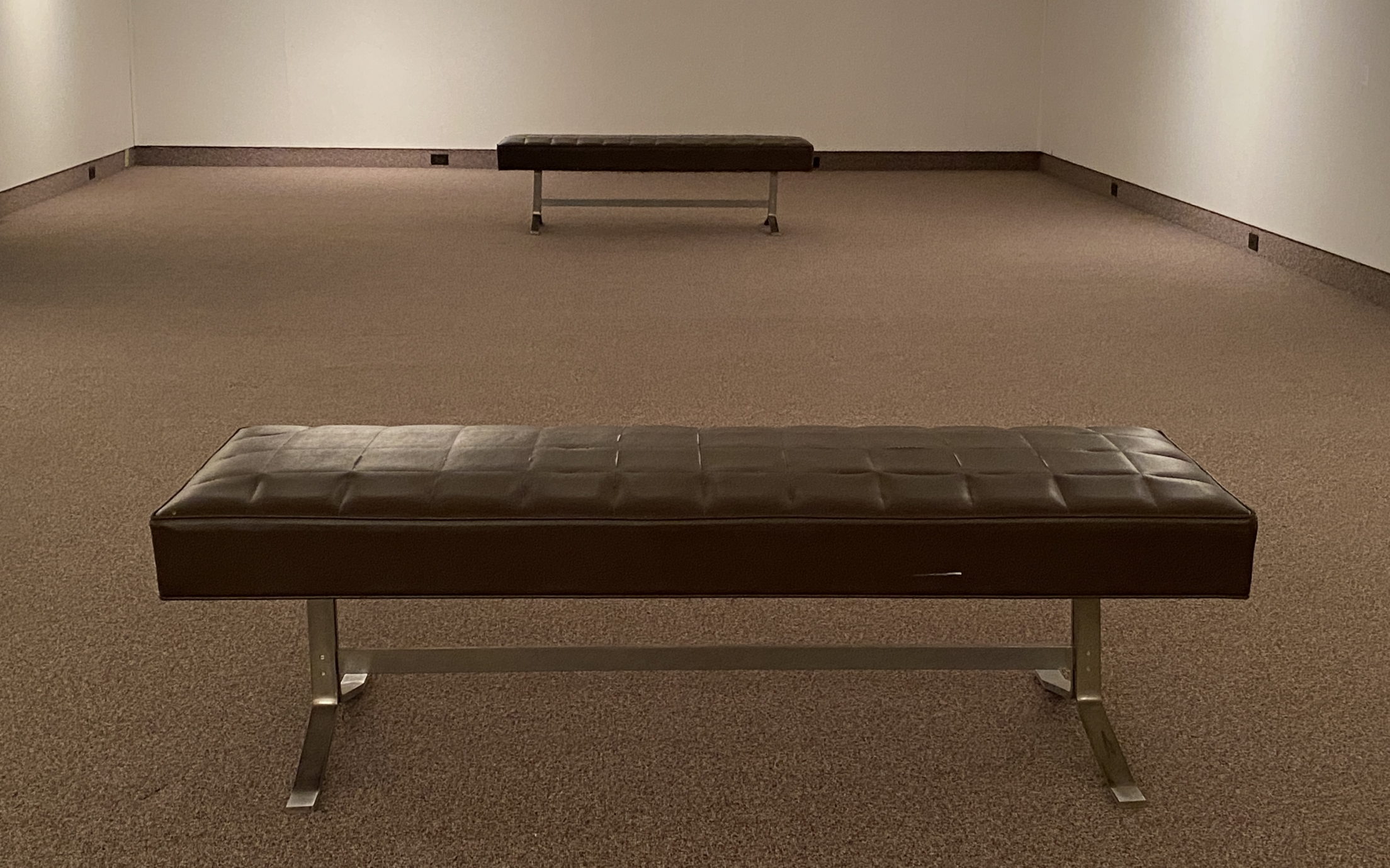 empty gallery with two benches