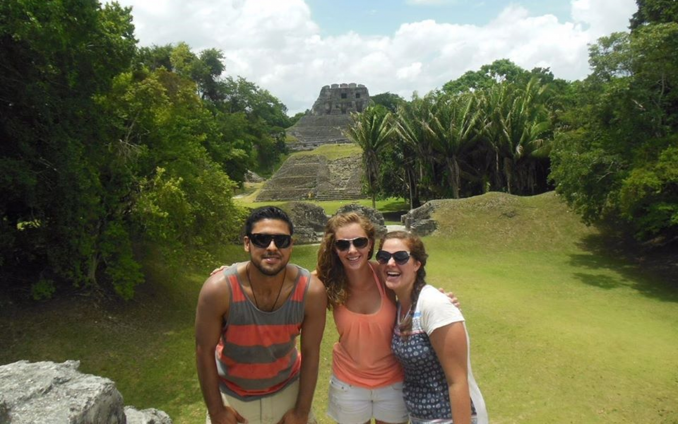Taylor Jenks (pictured in center) at Xunantunich - a Mayan ruins site in western Belize.