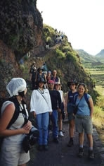 VIU Anthropology Fieldtrip: Peru 2000 - Descent from the archaeological site of Pisac.