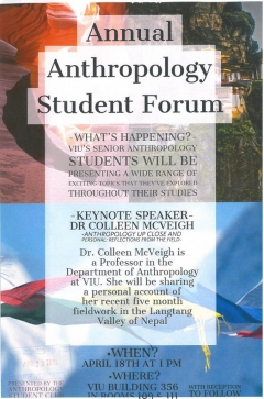 Anthropology Forum, April 18, Promo Flyer