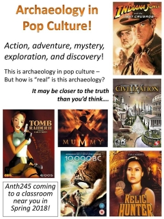 Archaeology in Pop Culture, ANTH 245, promo flyer
