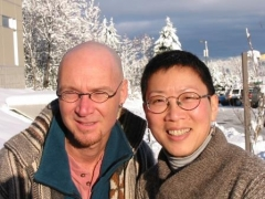 Denis, student club member, and Dr. Lim, before headshave, in promo photo for fundraiser.