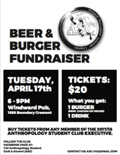 Anthropology Student Club Burger Fundraiser, 17 April 2018