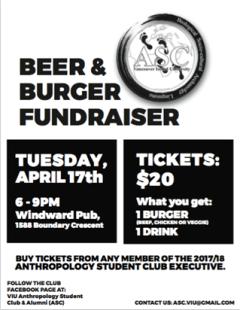 Anthropology Student Club Burger Fundraiser, 17 April 2018