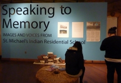 Students viewing exhibit at U'Mista Cultural Centre, Alert Bay.