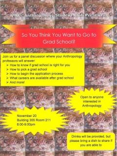 Anthropology Student Club - Graduate School?? Promo Flyer, November 20