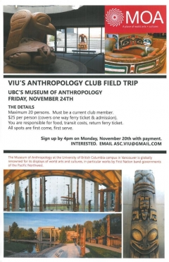 Anthropology Student Club Field Trip to MoA, November 24, Promo Flyer
